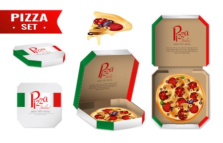 Ensemble réaliste avec pizza à vendre dans une boîte en carton aux couleurs de l'illustration vectorielle drapeau italien isolé Banque d'images - 81549890