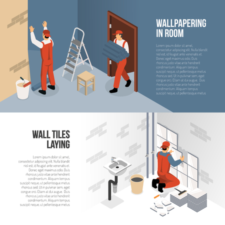 Isometric horizontal renovation banners presenting process of wallpapering and wall tiles laying 3d isolated vector illustration