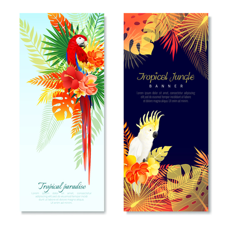 Realistic tropical parrots vertical banners set with compositions of colorful birds and leaves with editable text vector illustration