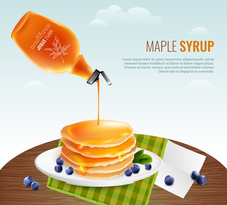 Maple syrup concept with table pancakes and berries cartoon vector illustration