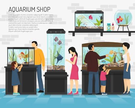 ペット ショップ フラット ベクトル図に大小の水槽の魚を見ている人  イラスト・ベクター素材