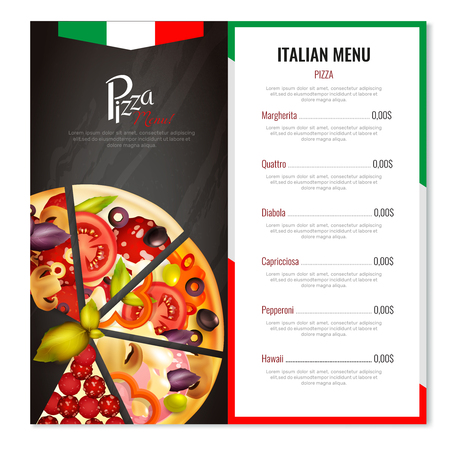 Pizza menu design with realistic images of pizza slices with italian national symbolics and editable text vector illustration
