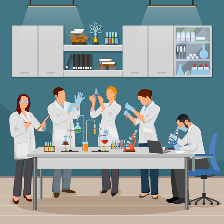 Science and laboratory composition with experiment and research symbols flat vector illustration Illustration