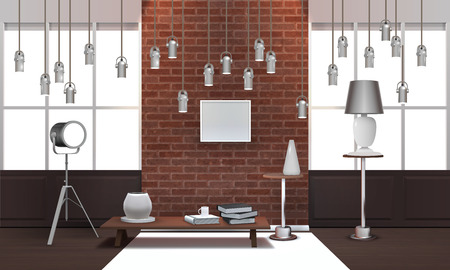Realistic design loft interior with metal hanging lamps, wooden table, picture frame on brick wall vector illustration
