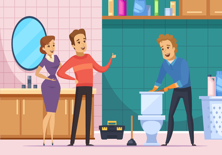 Flat composition with plumber repairing toilet and happy customer family in home interior cartoon vector illustration