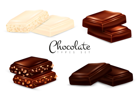 Chocolate types set of isolated images with pieces of dark white and milk chocolate with nuts vector illustration