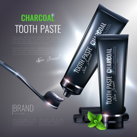 Charcoal toothpaste poster composition with images of branded tubes and tooth brush with editable text description vector illustration Illustration
