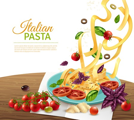 Italian fettuccine pasta with tomatoes olives and herbs realistic concept poster vector illustration Illustration