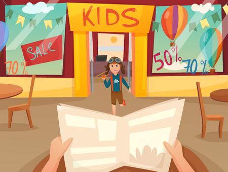 Retro beeldverhaalkindje met compositie af met eerste persoon in de voorkant van het winkelvenster vectorillustratie Stockfoto - 81811864