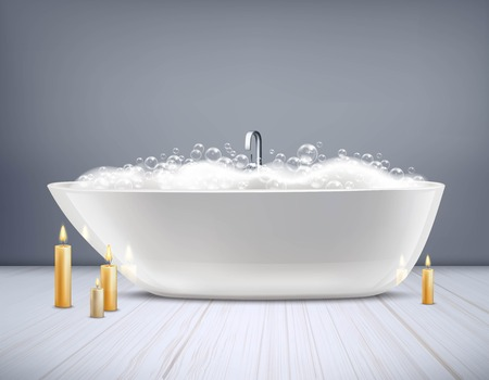 Glossy white bathtub with foam and burning candles at floor on grey wall background 3d vector illustration