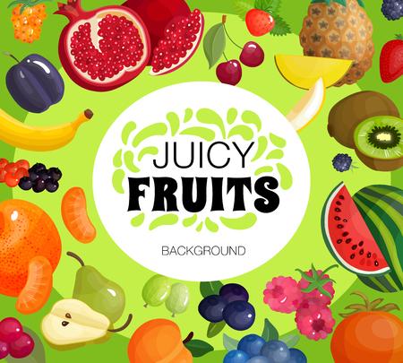 ジューシーなトロピカル フルーツと新鮮な果実組成装飾的な正方形のフレームの背景ポスター ザクロとラズベリーのベクトル図