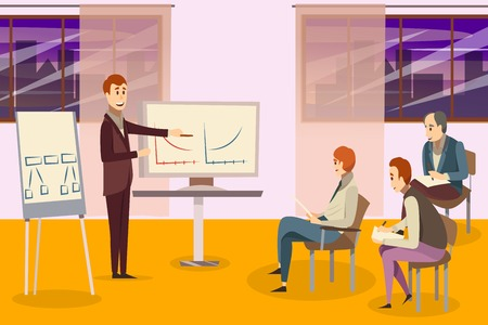 Business training composition with teacher near whiteboards and participants on chairs on background of windows vector illustration Иллюстрация