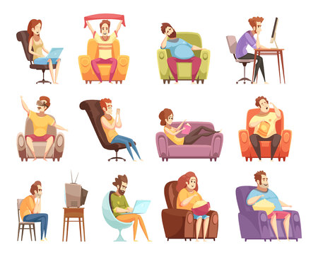 Ensemble de style de vie sédentaire d'icônes de dessin animé rétro avec travail à l'ordinateur, regarder la télévision, lecture d'illustration vectorielle isolé Banque d'images - 82478891