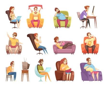 Siedzący tryb życia zestaw ikon retro kreskówek z pracą przy komputerze, oglądanie telewizji, czytanie ilustracji wektorowych na białym tle