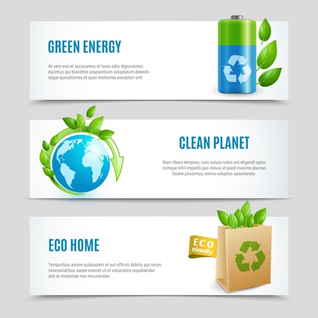 Ecology horizontal banners in paper design with green energy clean planet and eco home realistic signs vector illustration
