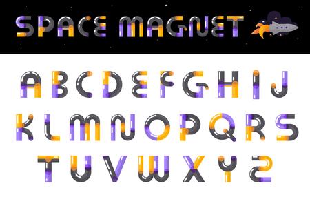 Creatieve ruimtemagneet thema alfabet lettertype ontwerp duidelijk zichtbaar aandacht multicolored glanzende letters instellen vectorillustratie