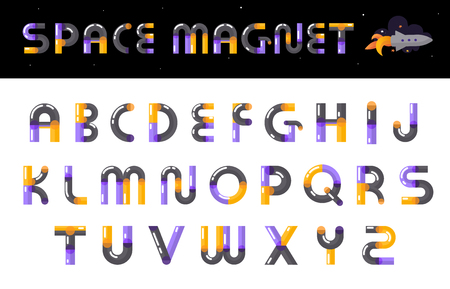 Creative space magnet theme alphabet font design clearly visible calling attention multicolored glossy letters set vector illustration Çizim