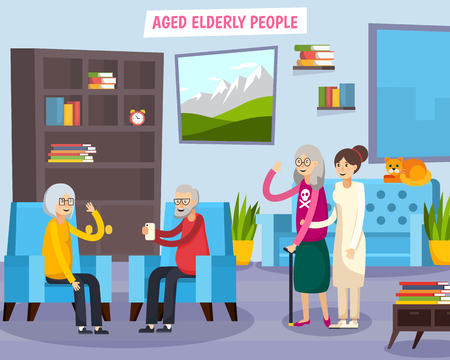 Colored flat aged elderly people orthogonal composition with group of people gathered together vector illustration