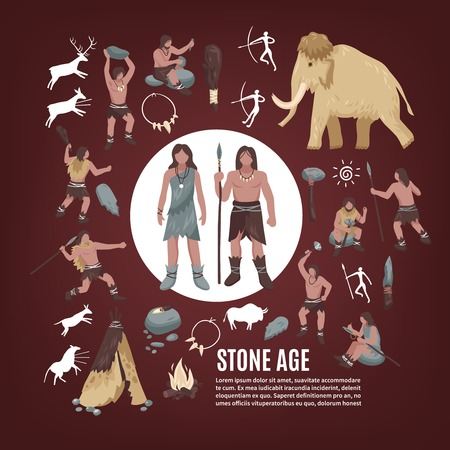 Stone age people icons set with weapon flat isolated vector illustration Stock Vector - 81872317