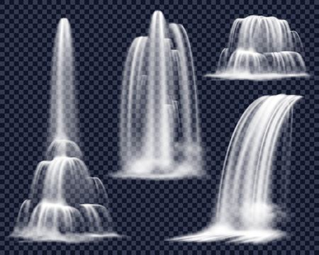 Set of realistic waterfalls including cascading streams of various shape on transparent background isolated vector illustration