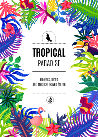Tropical paradise exotic plants flowers and birds colorful bright ornamental rectangular frame background poster abstract vector illustration Illustration