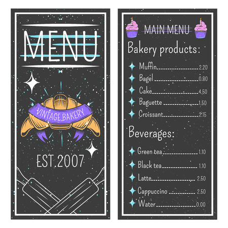Vintage bakery menu template on black background with emblem, price list for pastry and beverages vector illustration Illustration
