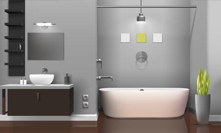 Modern realistic bathroom interior design with white sanitary equipment, shelves on grey wall, decorative plant vector illustration