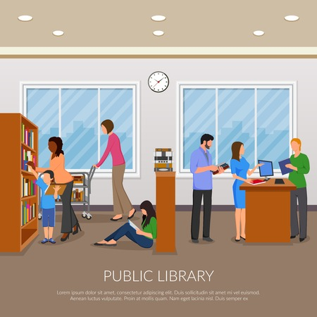Public library composition with books bookshelf and people flat vector illustration