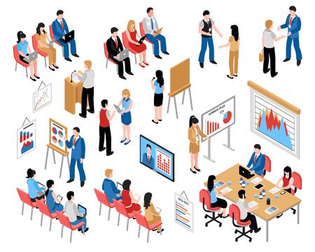 Isometrische Ikonen der Geschäftsbildung und -trainings stellten mit dem Kommen zur Trainings- und Geschäftsseminar-Vektorillustration ein Vektorgrafik