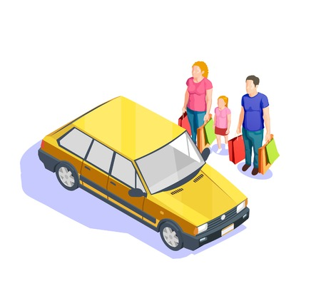 Family with lots of bags going to their car after doing shopping 3d isometric vector illustration