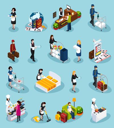 착색 된 호텔 서비스 아이소 메트릭 아이콘은 손님 경험 벡터 일러스트 레이션을위한 성공적인 고객 서비스를 제공합니다. 일러스트