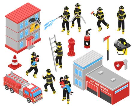 De isometrische die pictogrammen van de brandweer met brandbestrijders worden geplaatst belast met het doven van het branden de bouw en mensen vectorillustratie bewaren