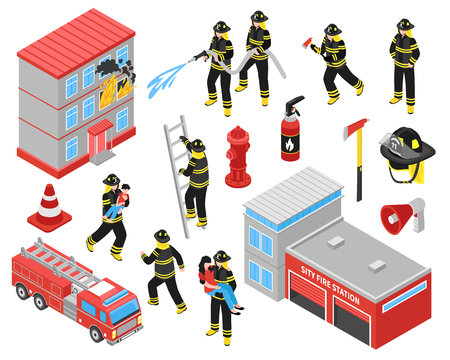 Fire department isometric icons set with  firefighters engaged in extinguishing of burning building and saving people vector illustration