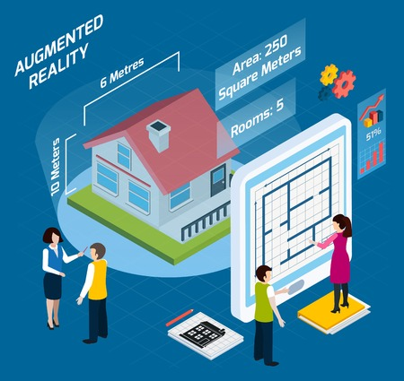 Colored augmented reality isometric composition with area number of rooms and other descriptions vector illustration Illustration