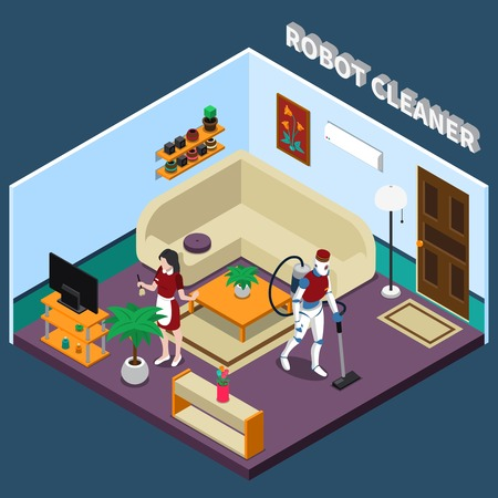 Robot professions 3d design concept with artificial housewife and cleaner in isometric home interior vector illustration