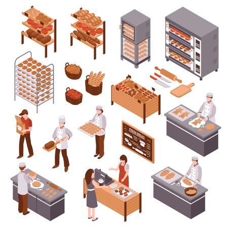 製品の買い手と売り手カウンター ベクトル図の背後にある焼きたてのパンを扱うパン屋の棚のパン屋さん等尺性のアイコンを設定します。