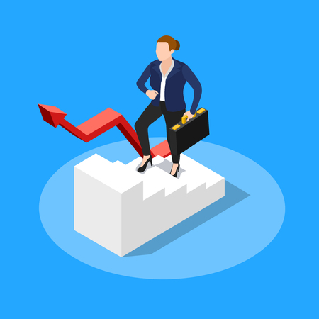 Isometric people business conceptual composition with faceless human character of businesswoman getting on in the company vector illustration 向量圖像