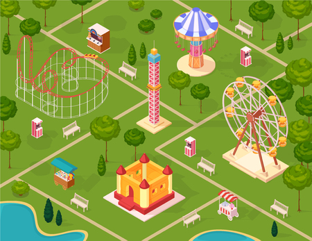 Amusement park seamless pattern with carousel medieval castle ferris wheel coaster isometric elements on summer nature background cartoon vector illustration 向量圖像