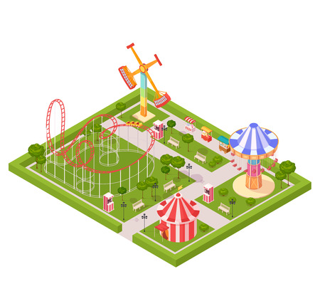 coaster: Amusement park design composition with circus tent roller coaster carousel giant swing cartoon isometric icons vector illustration