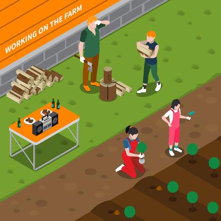 Het werken aan de isometrische samenstelling van het familielandbouwbedrijf met moeder die van het vader de splitsingsbrandhout zaailingen planten en kinderen vectorillustratie helpen