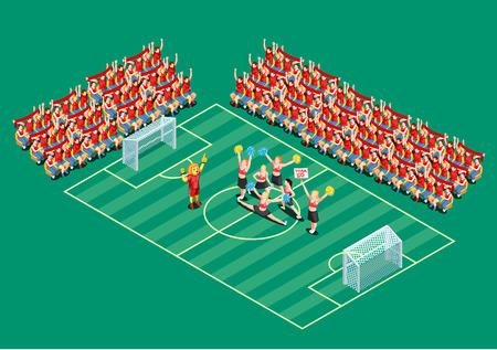 Cheerleading-dansers die voetbalteams steunen op gebieds 3d isometrische vectorillustratie