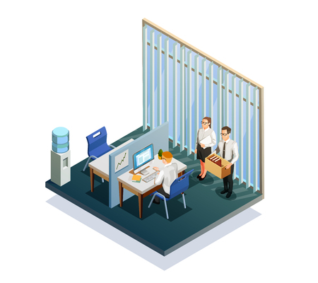 Isometric recruitment people working at office 3d vector illustration Illustration