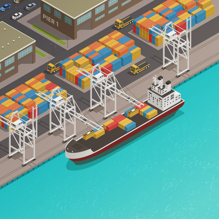 Freight loading dock at harbor wharf with moored cargo barge and stacked containers isometric composition vector illustration Ilustração