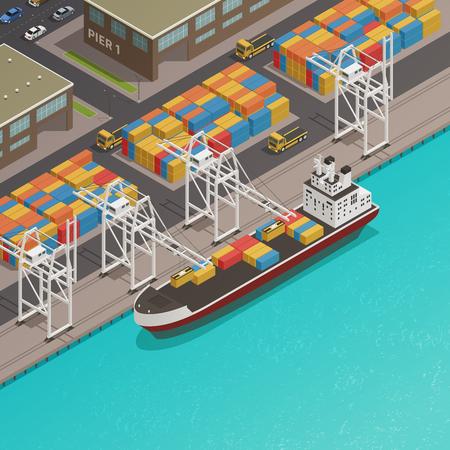 Muelle de carga en el muelle del puerto con la gabarra de carga amarrada y la ilustración de composición isométrica de contenedores apilados del vector