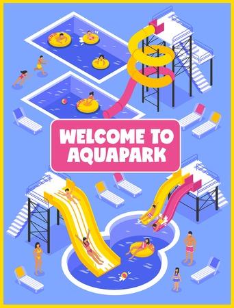 人々 長椅子とアクア パーク ポスター ラウンジし、プールの等尺性のベクトル図