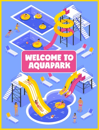 Aqua park poster with people chaise lounges and pools isometric vector illustration Illustration
