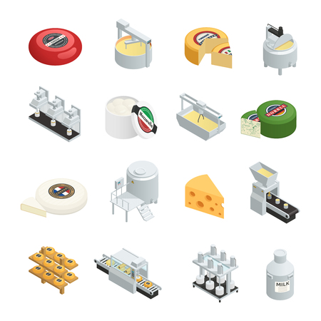 Dairy production factory isometric icons set with creamy soft and hard cheese varieties ripening isometric isolated vector illustration