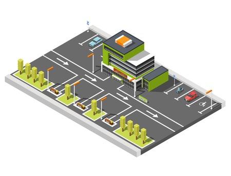 政府の建物のショッピング センター建物と駐車場周辺は道路標示と矢印の等尺性組成ベクトル図  イラスト・ベクター素材