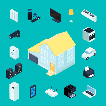 refrigerator: Smart home isometric decorative icons collection with private house in center domestic appliances and electronic elements of remote management around isolated vector illustration
