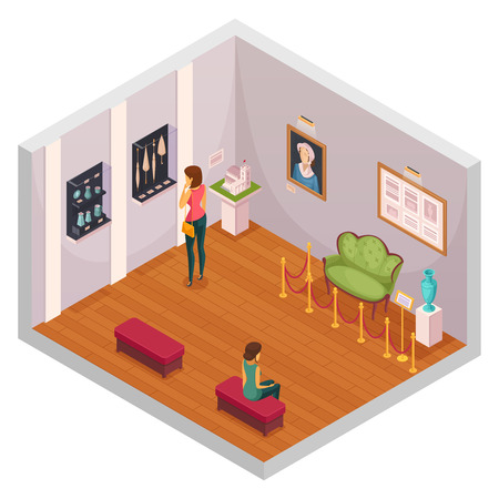Exhibition isometric composition representing interior of museum hall with visitors exhibits of furniture and accessories vector illustration